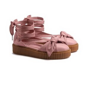 Pink Fenty Puma Leather Bow Creepers size 8